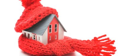 Image of home wrapped in scarf and winter hat